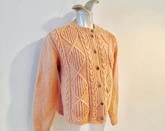 Vintage 1970's Cable Knit Wool Sweater / Size Medium Fishermans Cardigan Button Up Boho Ski Sweater
