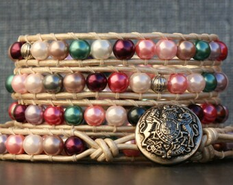READY TO SHIP pearl and leather wrap bracelet- unicorn bracelet - multicolor pink, purple, blue, white, brown