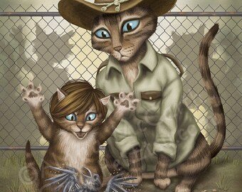 The Walking Dead: Rick & Carl Cats - 8x10 art print - Rick teaching his kitten Carl the ways of the zombie world