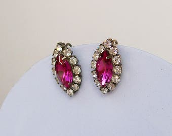 """Hot Pink Marquis RHINESTONE EARRINGS Super Sparkly Clip back Silvertone  7/8"""" long"""