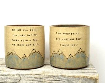Handmade John Muir Mug Set. Hiker mugs. Wilderness lover. Nature lover. Get outside. Breathe wild air. Happy Trails. Made to Order