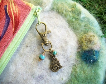 Spiral Kitty Cat Zipper Pull, Stocking Stuffer, Antique Bronze with Beaded Charms