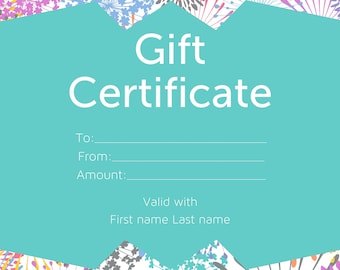 Personalized Gift Certificate 4x6