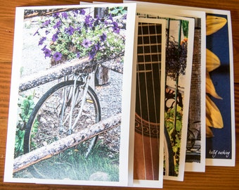Vintage Bike with Purple Flowers // Art Card, with an envelope, blank inside // Photograph