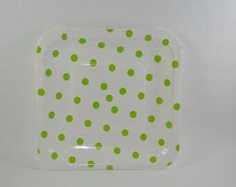 Plates 8 cardboard square green dot pattern