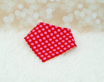60% OFF SALE! Baby Bandana Bib (Pink Dots on Red) ||| bibdana, drool bib, dribble bib, bandana bib sale, bibdanna, baby bibdana, baby shower