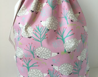 Laundry Bag Graduation Gift for Girl in Hedgehog Print Canvas, Camp Laundry, Gift for Her, Birthday Gift for Girl, Travel Laundry, Laundry