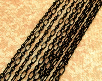 Matte Black Chain, Long And Short Oval, Soldered, 3 Feet, MB9