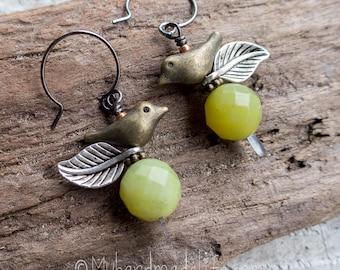 Little Bird Earrings    Green Jade   Earthy   Organic   Boho   Hippie   Limited Edition   Earrings Under 20   Mixed Metal Green Earrings
