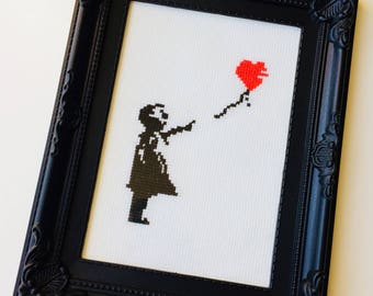 Banksy Style | Balloon Girl | Graffiti | Heart | Anniversary | Valentines | Love | Framed | Cross Stitch | Completed | Home | Gift