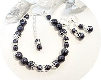 Dark Blue, Navy Blue Bracelet Earrings, Pearl and Rhinestone, Wedding Jewelry, Bridesmaid Jewelry, Bridal Accessories, Bridal Jewelry