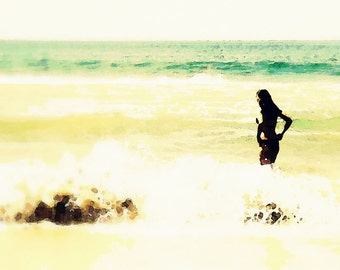 Watercolor Woman in Water Ocean Waves Beach Shore Bright Daytime Sunshine Fine Art Photograph Print Photography Digital Painting