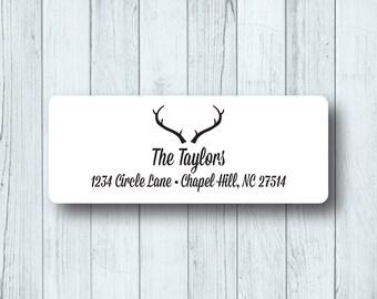 Deer Head Custom Return Address Labels - Personalized Rustic Antlers - Wedding, Marriage Stickers - Matte White, Kraft, or Clear Gloss