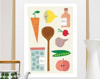 kitchen decor, kitchen art, kitchen wall art, funny kitchen art, food art, kitchen print, kitchen poster, art for kitchen, funny kitchen