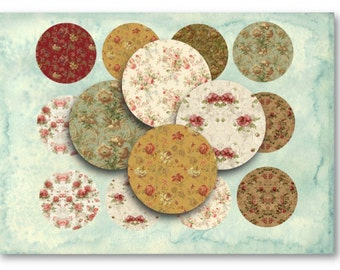 Vintage Floral 2.5 inch Circles  for Jewelry Pendants - Digital Collage Sheet Download -865- Instant Download Printables