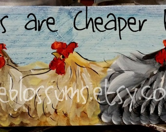 """5.5"""" X 21""""  #221 Chicken Art Sign Whimsical Chickens Original Painting"""