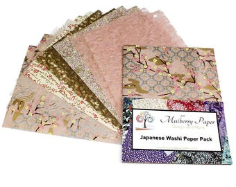 Decorative Japanese Washi Paper Pack in Blush Pink and Yellow Designs - 12 Sheets