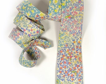 Wedding Mens tie,  yellow blue green and red flowers necktie