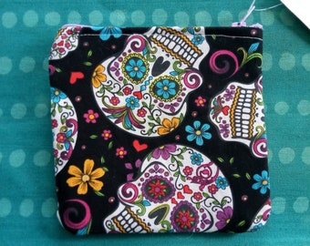 Sugar skull scattered mini coin purse coin bag day of the dead dia de los muertos
