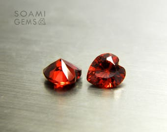 Loose Cubic zirconia heart shape garnet, 5x5, 6x6, 7x7, 8x8, 9x9, 10x10 mm heart cut red garnet loose cubic zirconia faceted gem