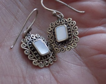 Vintage earrings, scrolled and granulated silver and MOP drop earrings