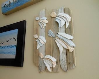 Seashell & Driftwood Wishing Upon a Shooting Star Wall Art Sculpture-Beach Decor-Natural Shells and Driftwood-Rustic Coastal Beach House Art