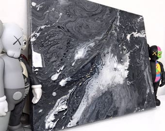Black, white, Gray, gold Abstract Resin Acrylic Painting on Gallery Wrapped Canvas