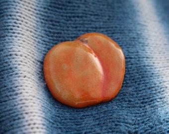 Ceramic Brooch pin Orange Peach Handmade Hand painted