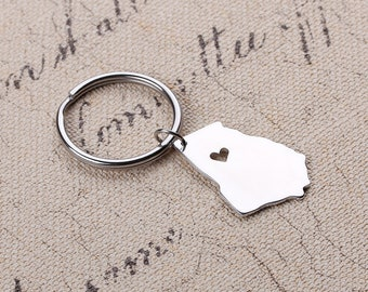 I heart Georgia Keychain - Georgia Map Keychain - Map Keychain - State Key ring - State Charm - Can be made with any state or country