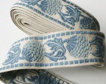 Vintage Upholstery Ribbon Trim Berry Leaf Design Dusky Pale Blues