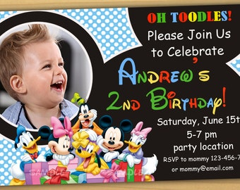 SALE Mickey mouse Birthday Invitation, mickey mouse clubhouse birthday invitation, mickey mouse clubhouse invitation - Digital