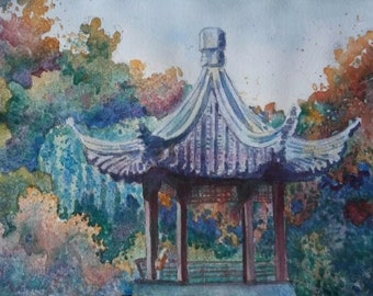 Lan Su Garden Original Watercolor Painting Chinese Garden Blue Green Gold