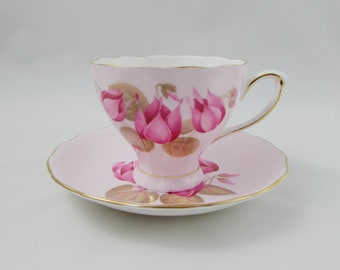 Colclough Pink Tea Cup and Saucer with Pink Flowers, Vintage Bone China