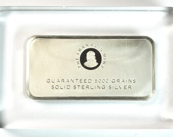 Franklin Mint Sterling Silver 5000 Grains Ingot in Paperweight Resin Cast