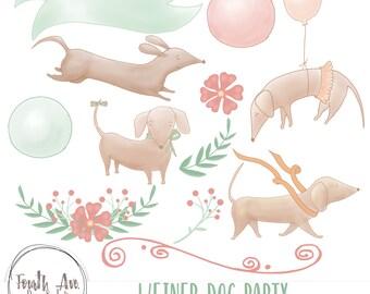 Cute Dog Clipart, Dachshund Clipart, Birthday Clipart, Hand Drawn, Pastel, Funny, Weiner Dog, Cute, Birthday, Clipart, Digital Scrapbook