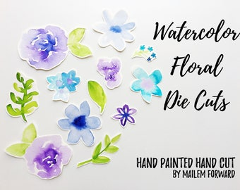 12pc Hand Painted Hand Cut Ephemera | Watercolor Flower Embellishments | Bullet Journaling, Stationery, Happy Mail, Scrapbooking Die Cuts