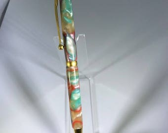 Rainbow Swirl and Satin Gold Slimline