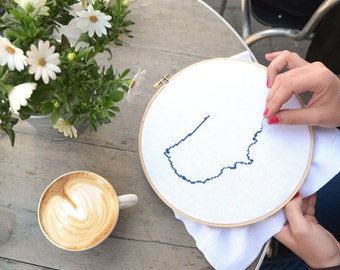 Cross Stitch Kit with country map pattern. DIY kit for Wedding gift. Includes 8 or 9 inch embroidery hoop