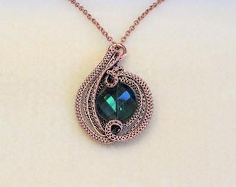 PENDANT, Copper Emerald Orbit Pendant