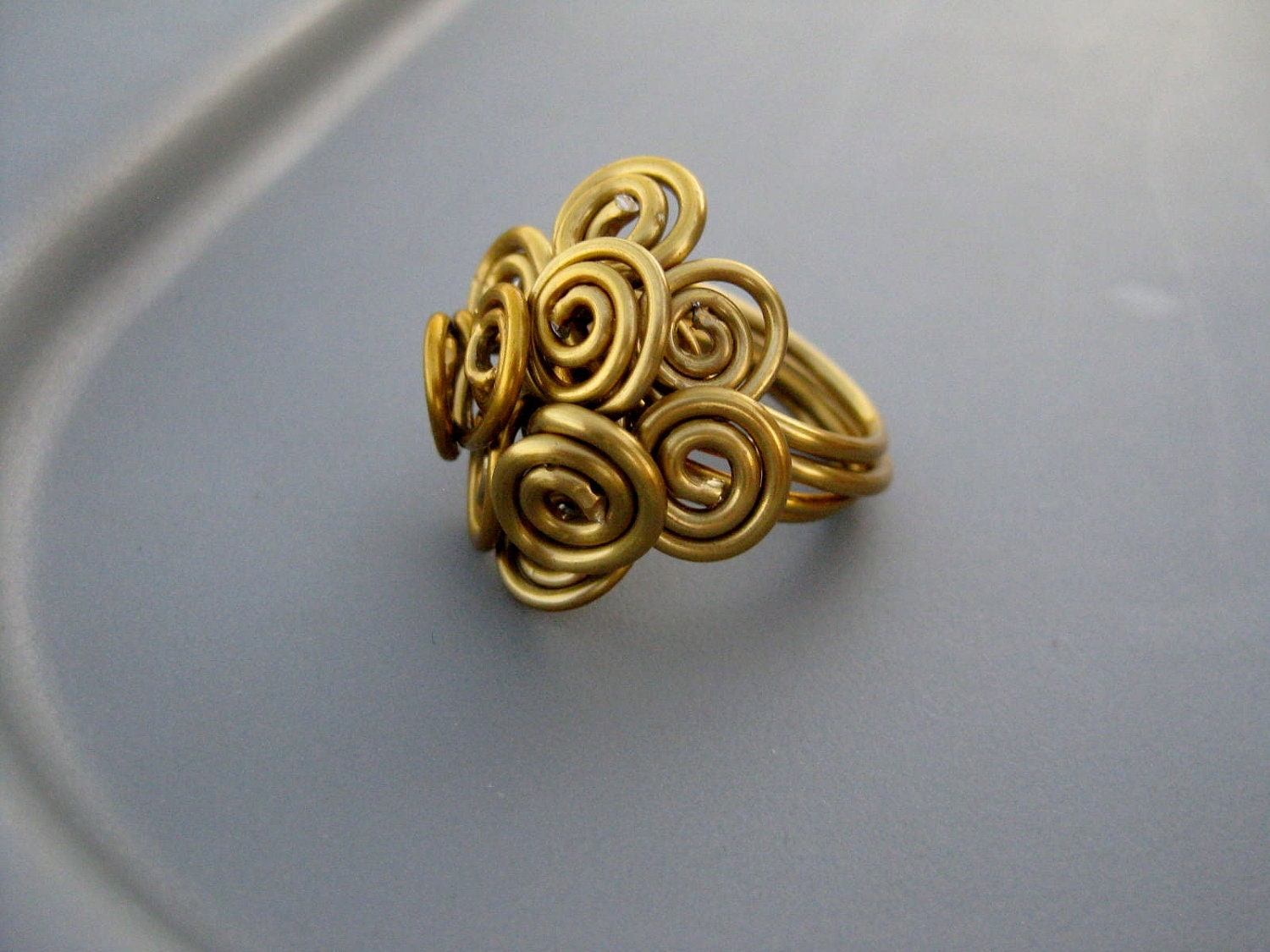 Bold Goddess Gold Tone Anodized Aluminum Wire Spiral Cluster
