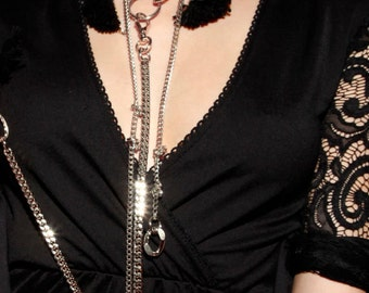 Gothic Long Necklace - Kinky Gift - Long Short Choker - Tassel Necklace - Masquerade - Vampire - Erotic - Venetian - 50 Shades of Gray