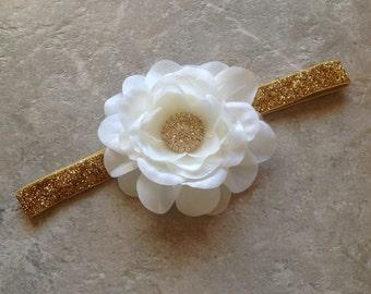 Gold white headband, Gold Baby Hair Bow, flower headband, baby headband, shabby chic roses, lace headband, baby girl headband, hair bows