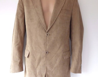 Vintage Beige Needle Corduroy WALBUSCH Fitted Tailored Men's Blazer Size EUR 52 / L / Chest Approx 49 in