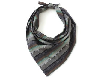 Stripe Bandana Square Scarf Cotton 20""