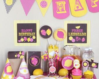Pink Lemonade Birthday Party Decorations - Instant Download - Pink Lemonade Party - pink lemonade 1st birthday - lemonade first birthday