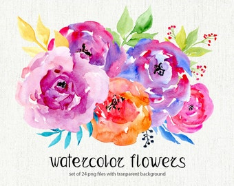 Watercolor floral clipart: 24 bright Branches, Flowers, Leaves, Boho Aquarelle Digital Clip Art colorful watercolour Free Commercial Use