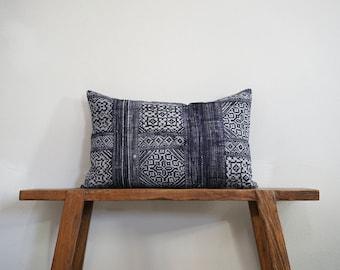 "15"" by 24"" Vintage Hmong Hill Tribe Lumbar Cushion Cover Ethnic Batik Thai"