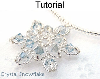 Beaded Snowflake Necklace Pattern - Jewelry Making Tutorial - Christmas Holiday Project - Simple Bead Patterns - Crystal Snowflake #615