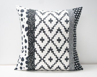 Patchwork Pillow Cover, 20x20, black and white