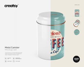 Metal Canister Mockup Set, Canister template, Personalized Canister, Metal Can, Steel Custom Canister